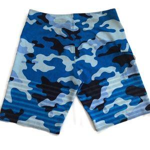Oakley Swim - Oakley 36 Blue Camo Stretch Board Shorts Swimwear